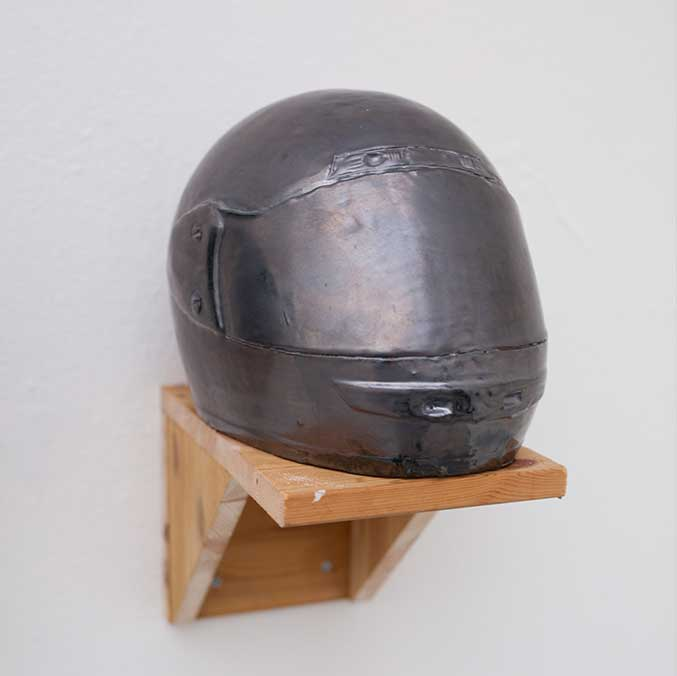 Skid Lid silver, 2016, Fraser Stewart, Ceramic Helmet